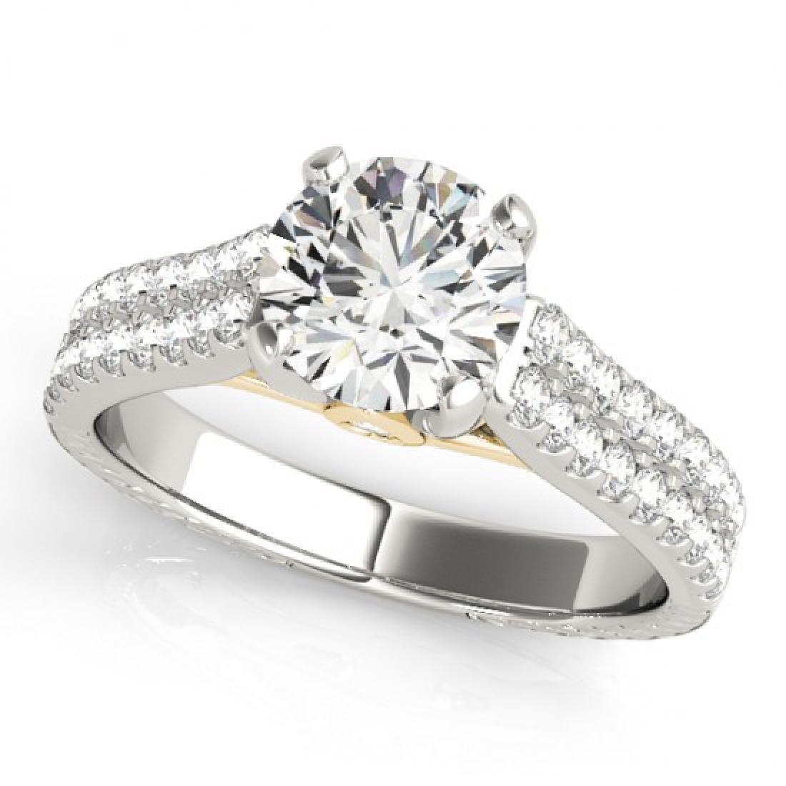 1.61 CTW Certified VS/SI Diamond Pave Ring 14K White & - 2