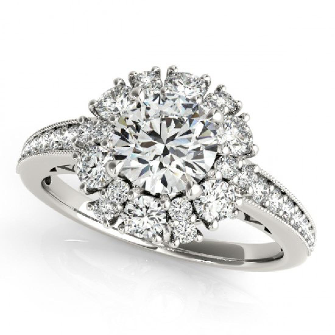 1.91 CTW Certified VS/SI Diamond Solitaire Halo Ring