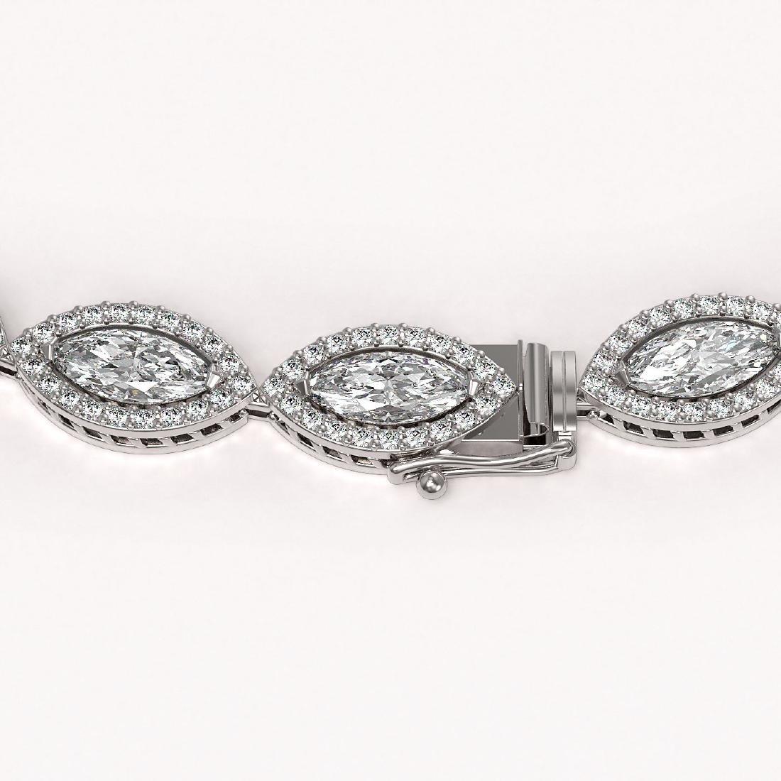 24.42 CTW Marquise Diamond Designer Necklace 18K White - 2