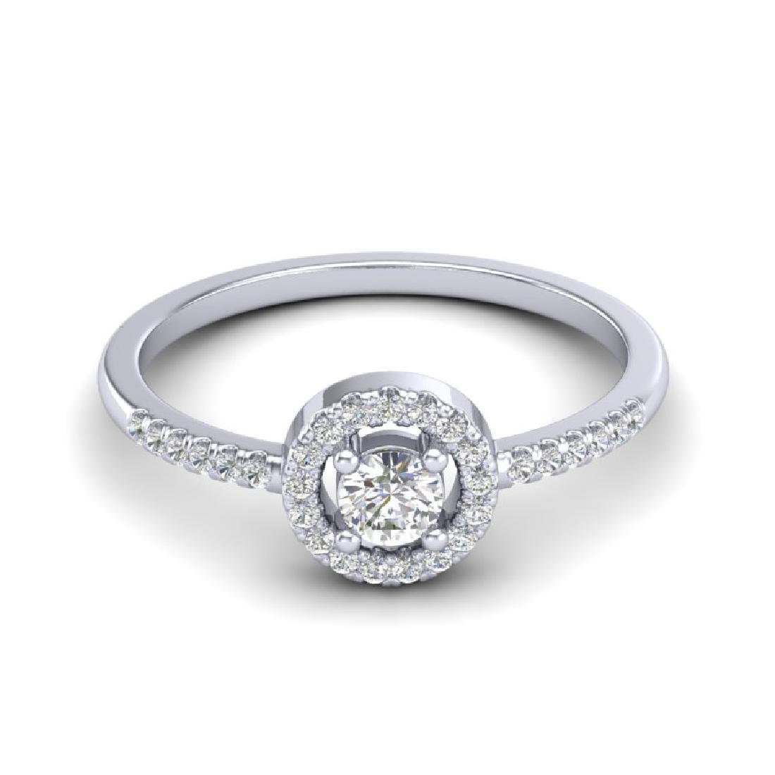 0.40 CTW Micro Pave VS/SI Diamond Ring Solitaire Halo