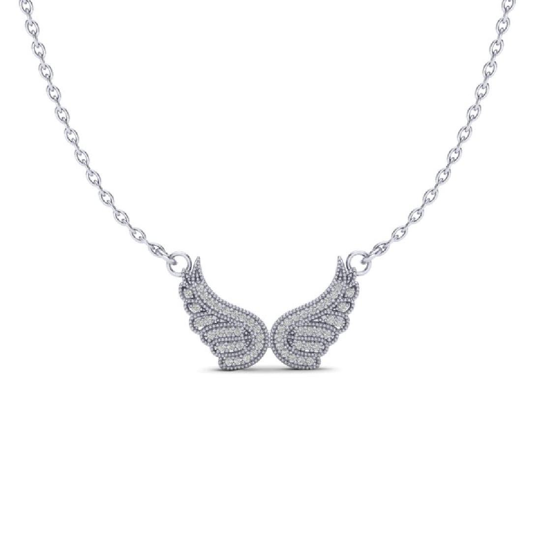 0.40 CTW Micro Pave VS/SI Diamond Angel Wing Necklace