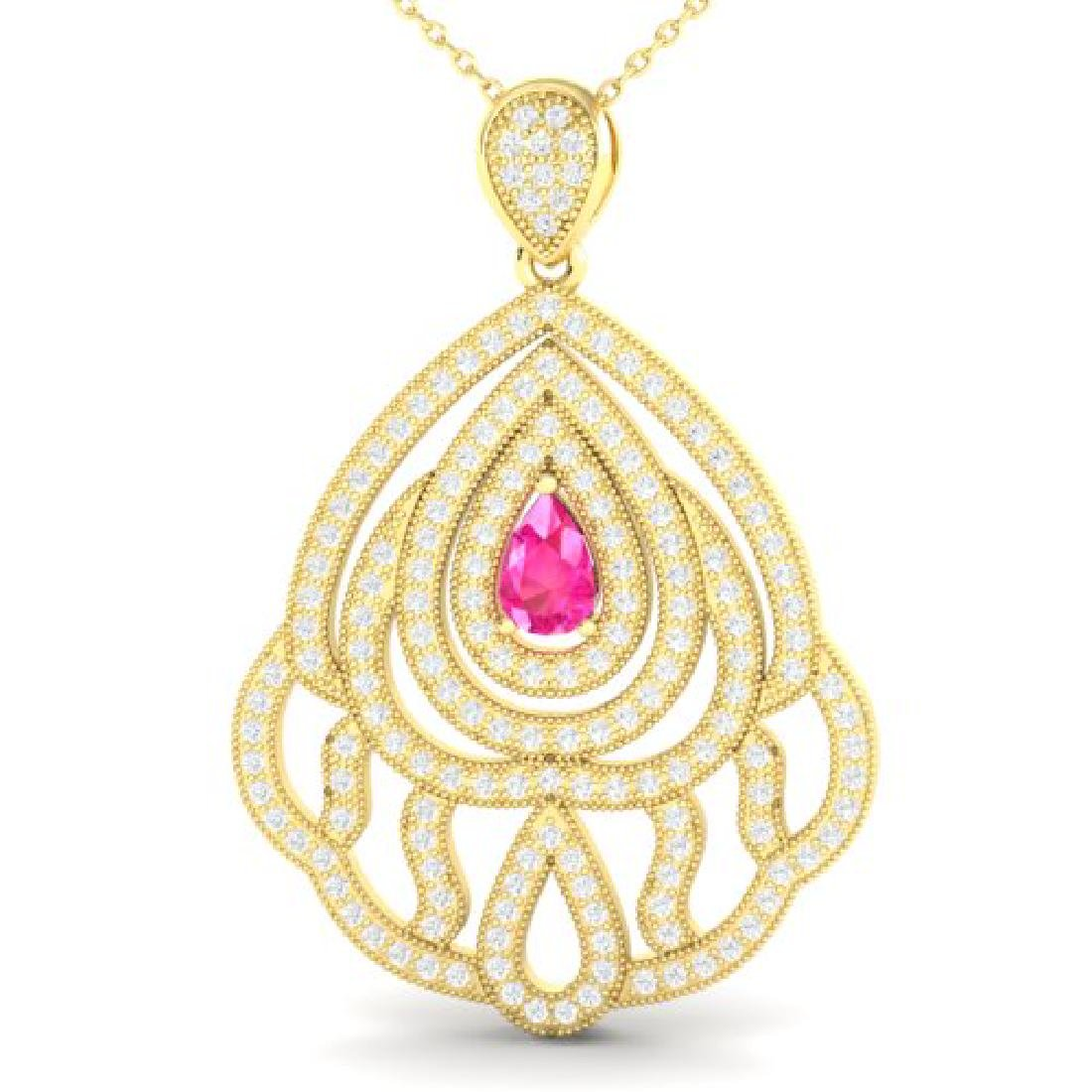 2 CTW Pink Sapphire & Micro Pave VS/SI Diamond Necklace