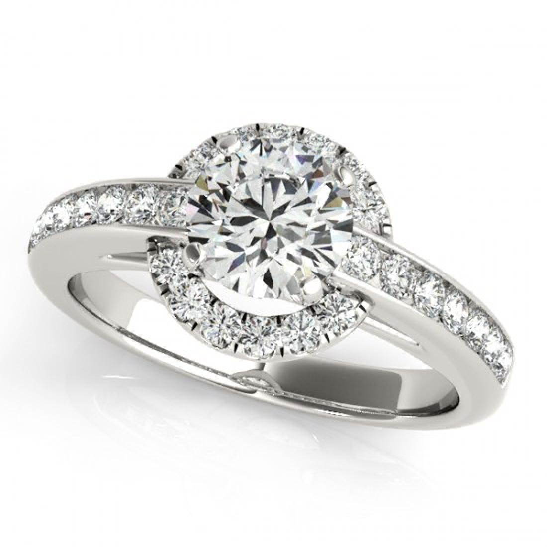 1 CTW Certified VS/SI Diamond Solitaire Halo Ring 14K