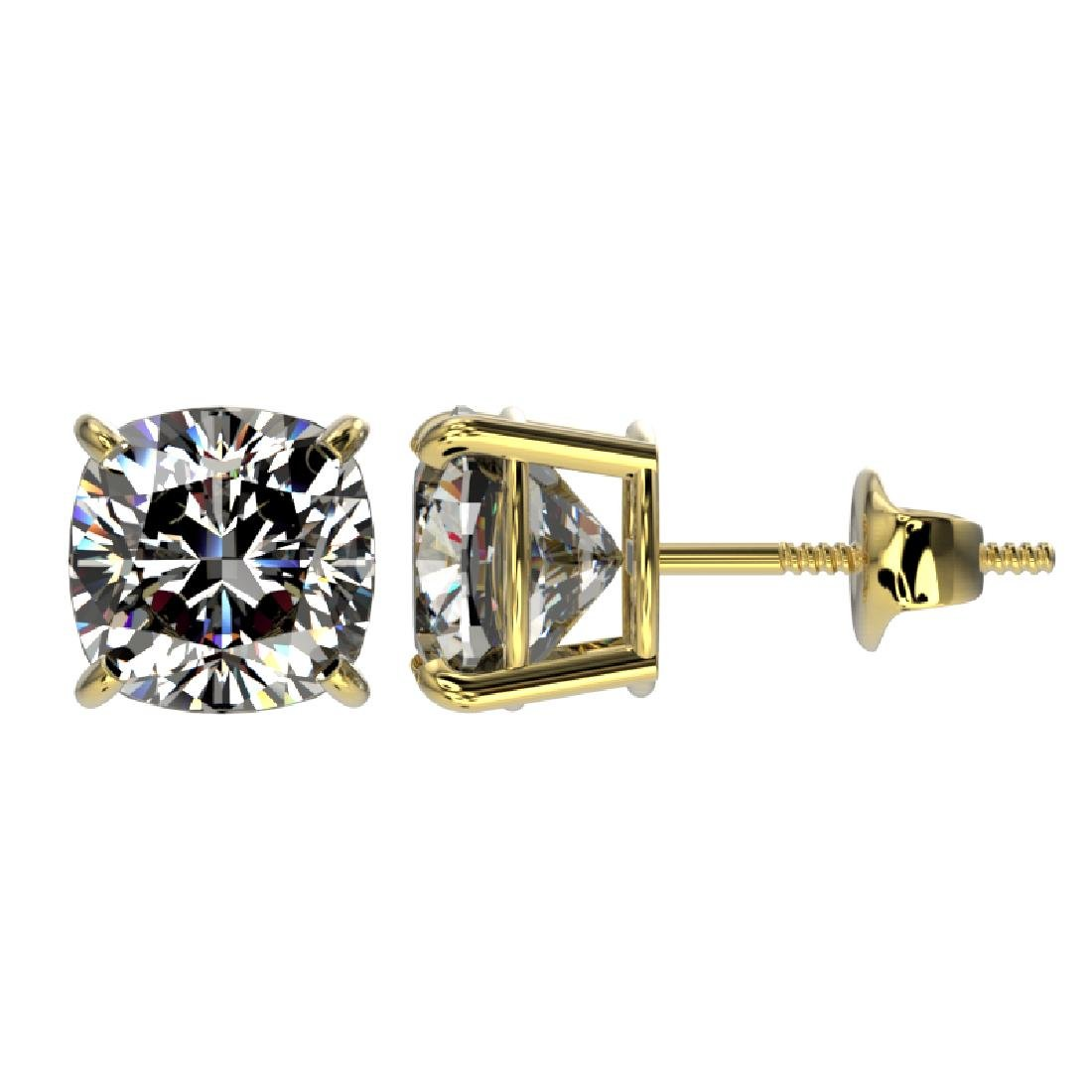 2 CTW Certified VS/SI Quality Cushion Cut Diamond Stud - 2