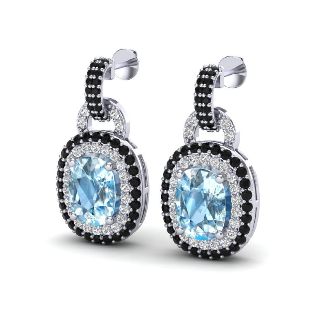 5 CTW Sky Blue Topaz With Black & Micro VS/SI Diamond