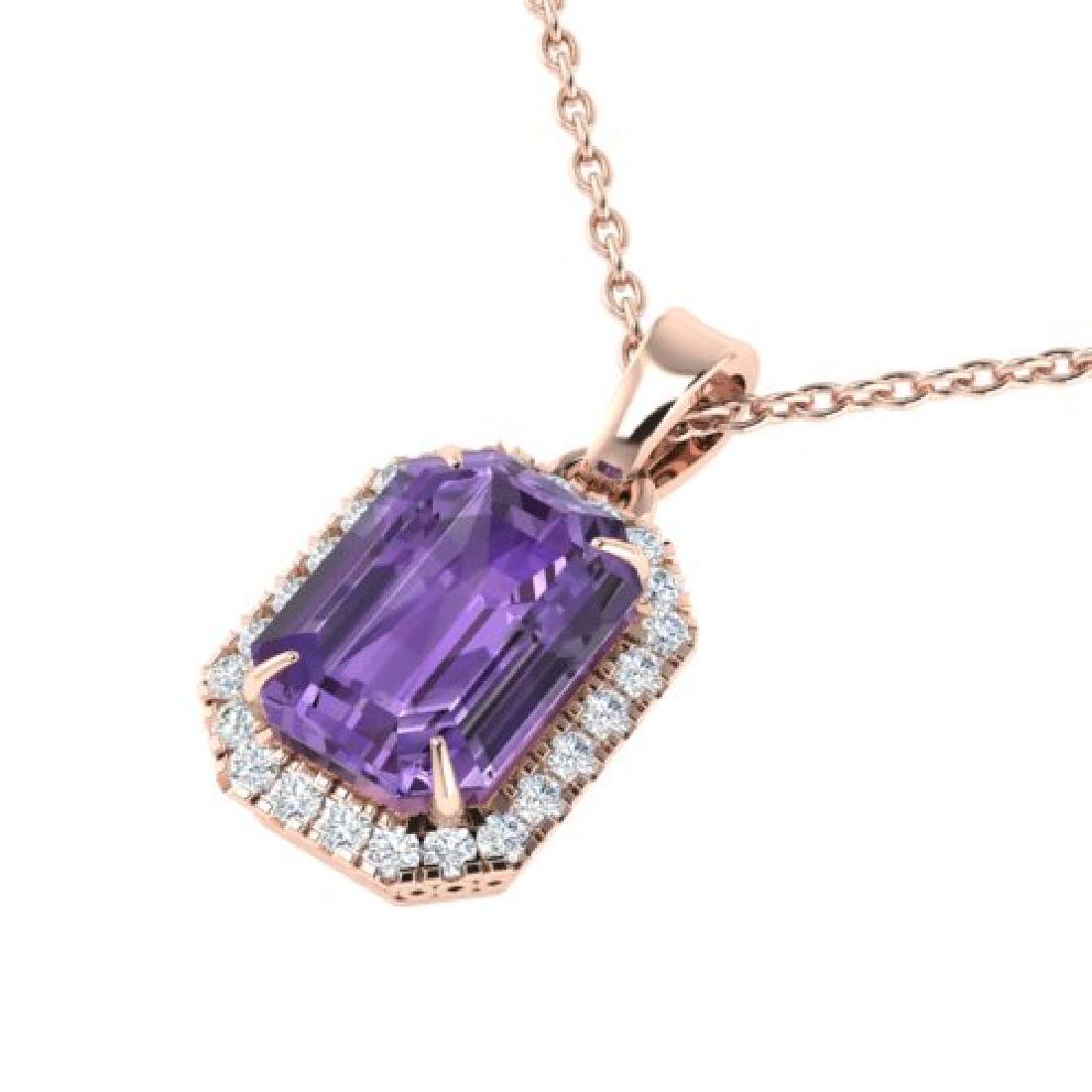 5 CTW Amethyst & Micro Pave VS/SI Diamond Halo Necklace