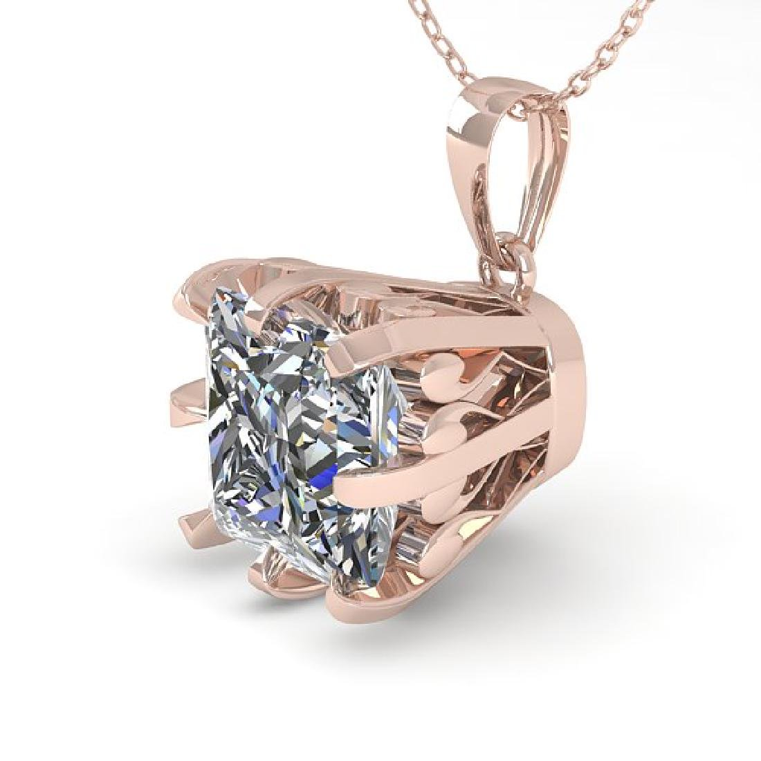 1 CTW VS/SI Princess Diamond Necklace 14K Rose Gold