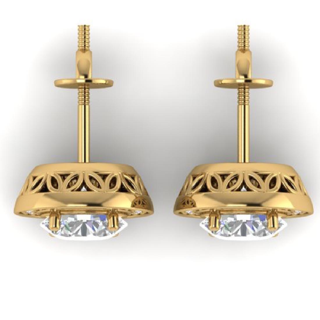 1.85 CTW I-SI Diamond Solitaire Art Deco Micro Stud - 3