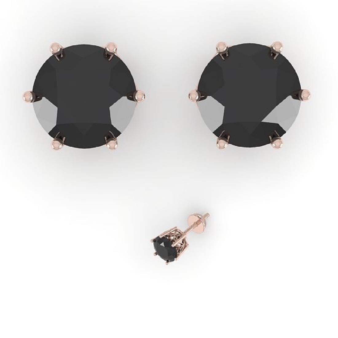 4.0 CTW Black Certified Diamond Stud Art Deco Earrings - 2
