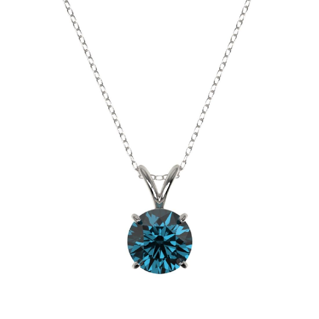 1.28 CTW Certified Intense Blue SI Diamond Solitaire - 3