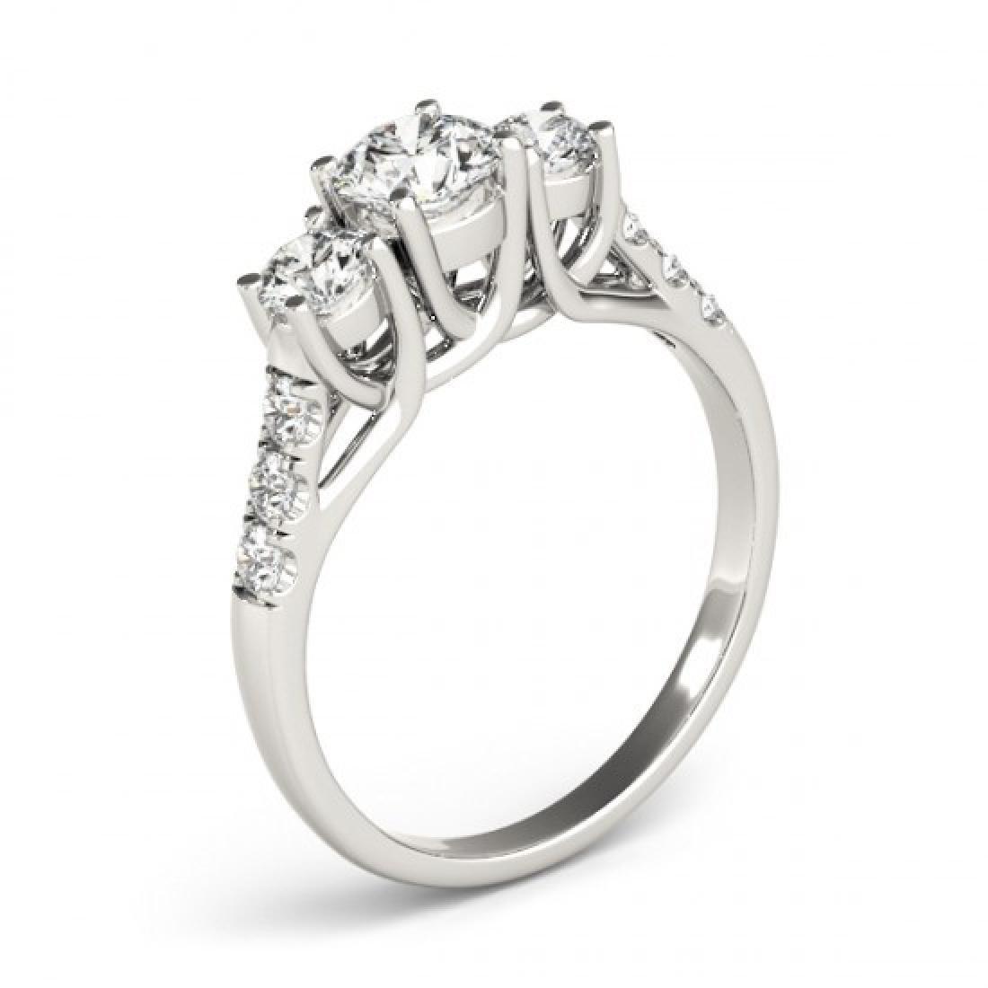 0.75 CTW Certified VS/SI Diamond 3 Stone Ring 14K White - 2
