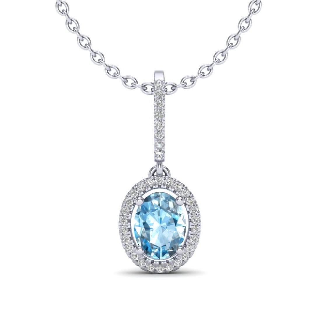 2 CTW Sky Blue Topaz & Micro VS/SI Diamond Necklace