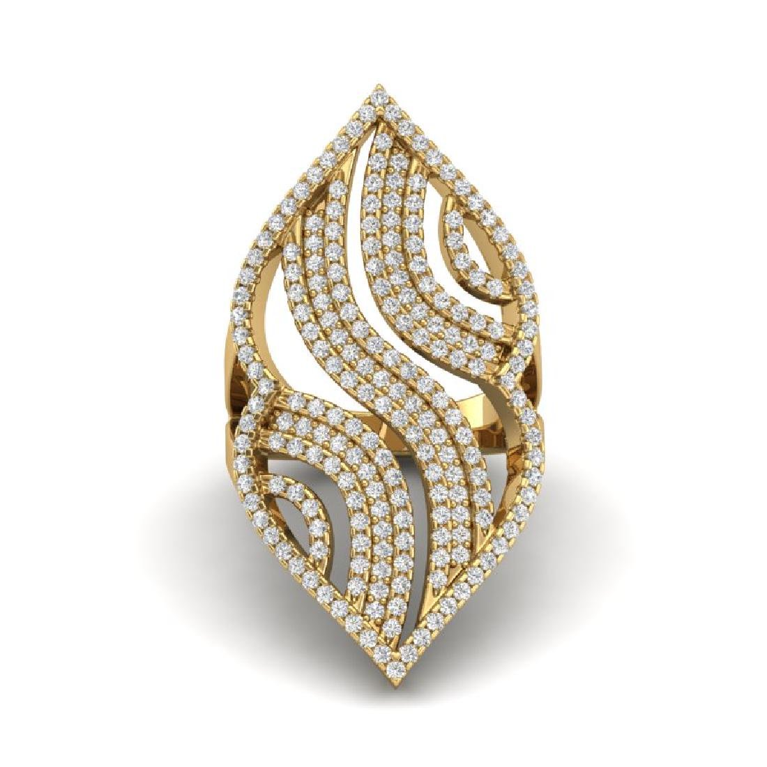 2 CTW Micro Pave VS/SI Diamond Designer Ring 14K Yellow - 2