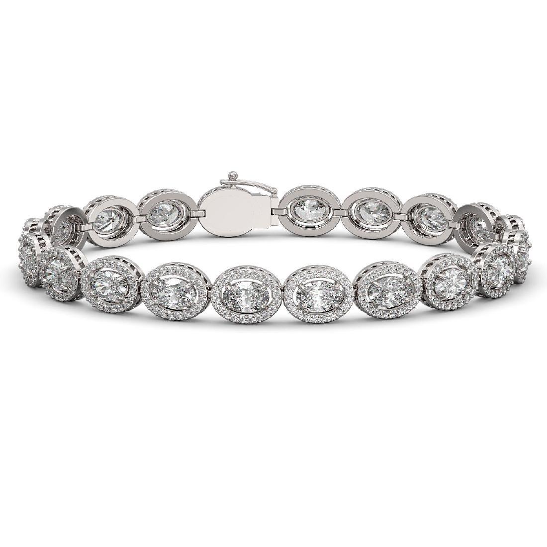 13.25 CTW Oval Diamond Designer Bracelet 18K White Gold