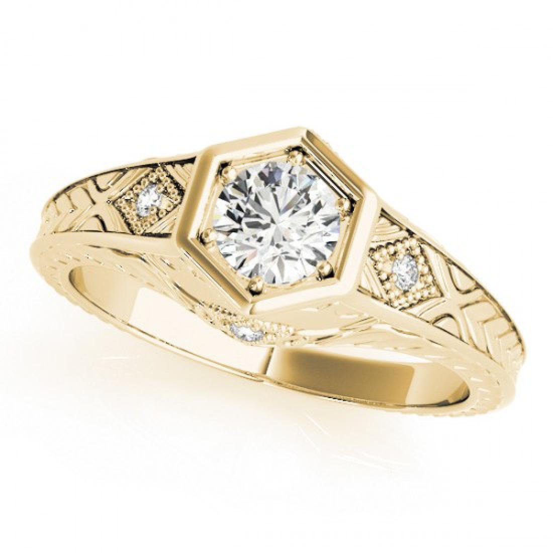 0.4 CTW Certified VS/SI Diamond Solitaire Antique Ring - 2