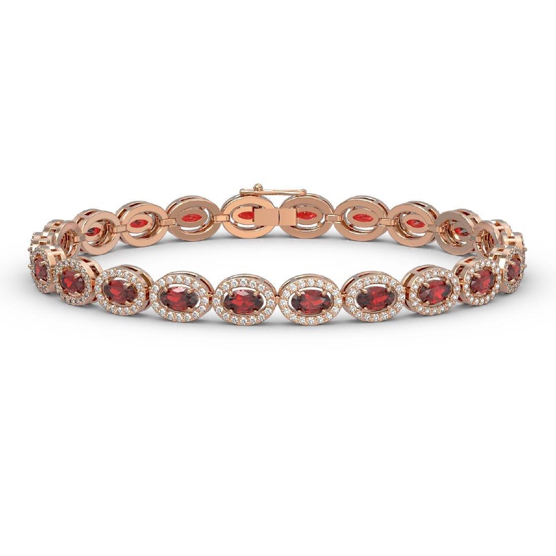 10.11 CTW Garnet & Diamond Halo Bracelet 10K Rose Gold
