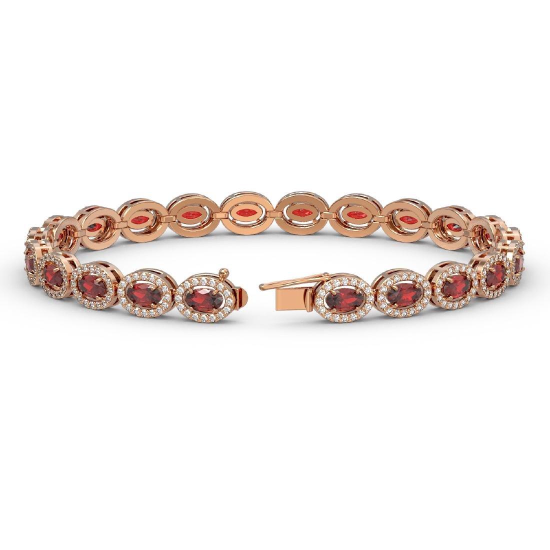 10.11 CTW Garnet & Diamond Halo Bracelet 10K Rose Gold - 2