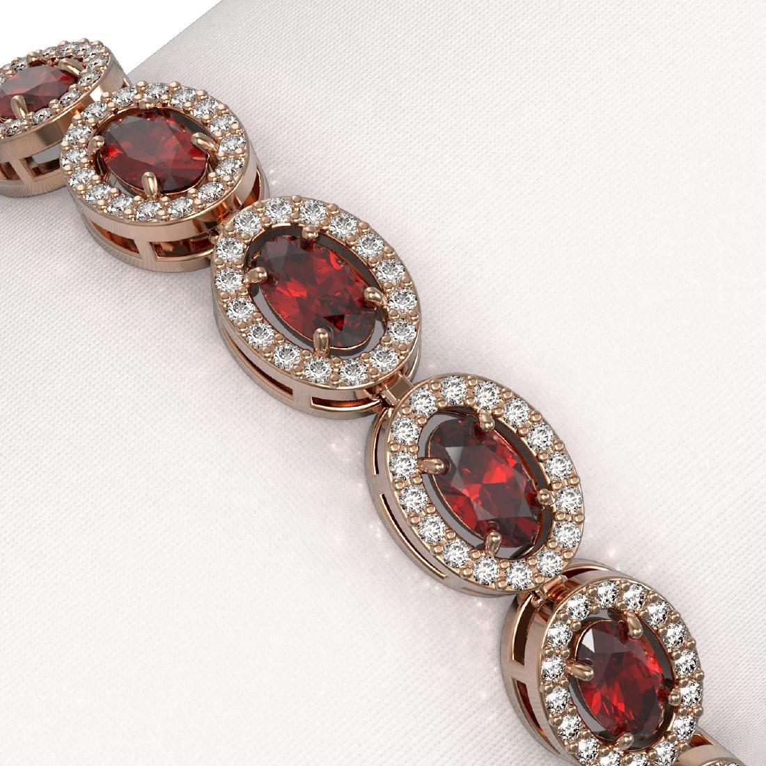 10.11 CTW Garnet & Diamond Halo Bracelet 10K Rose Gold - 3