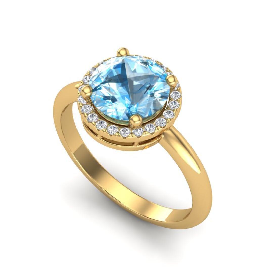 2.70 CTW Sky Blue Topaz & Micro VS/SI Diamond Ring - 2