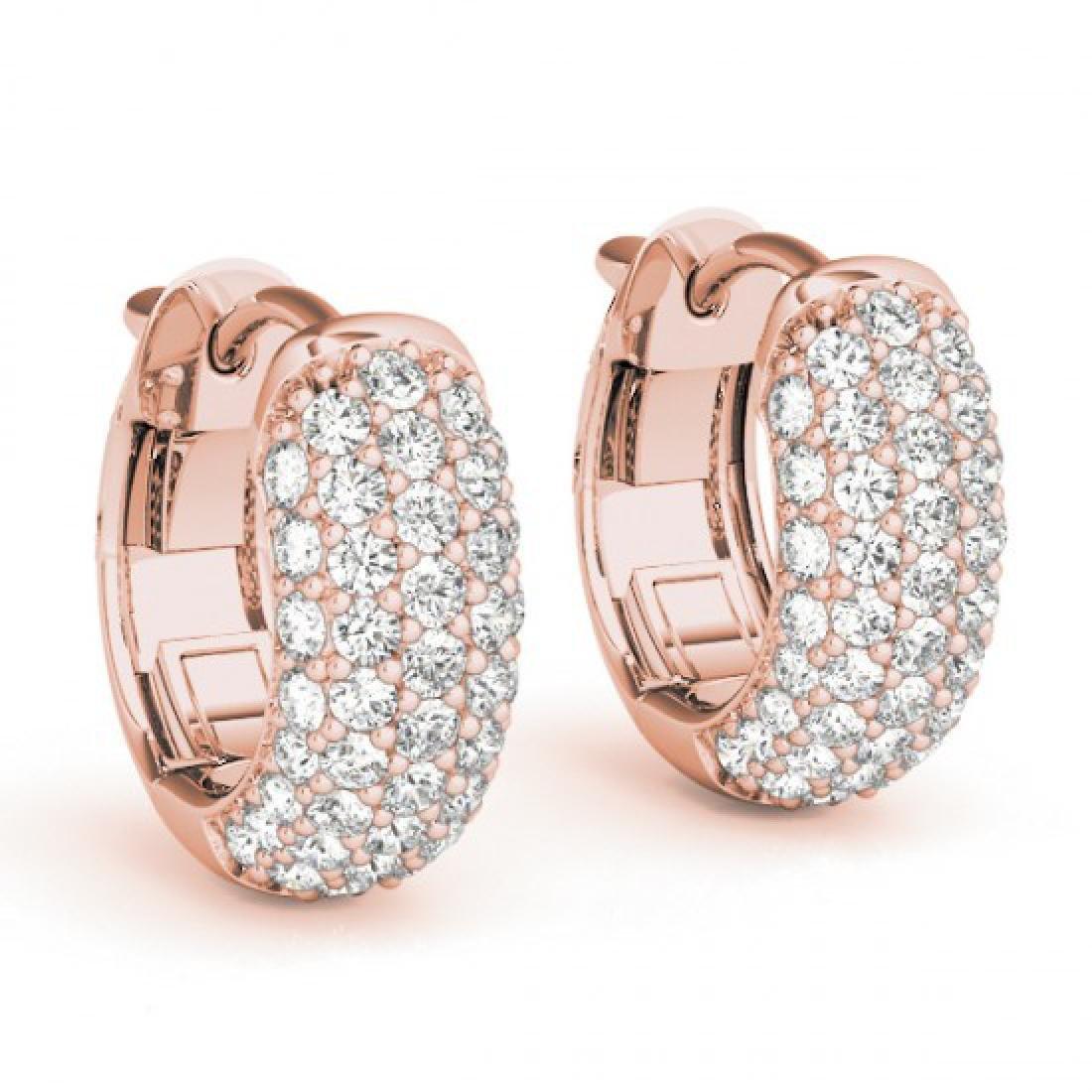 1 CTW Diamond VS/SI Certified Hoop Earrings 14K Rose
