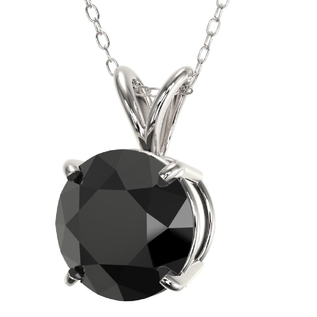 2 CTW Fancy Black VS Diamond Solitaire Necklace 10K - 2