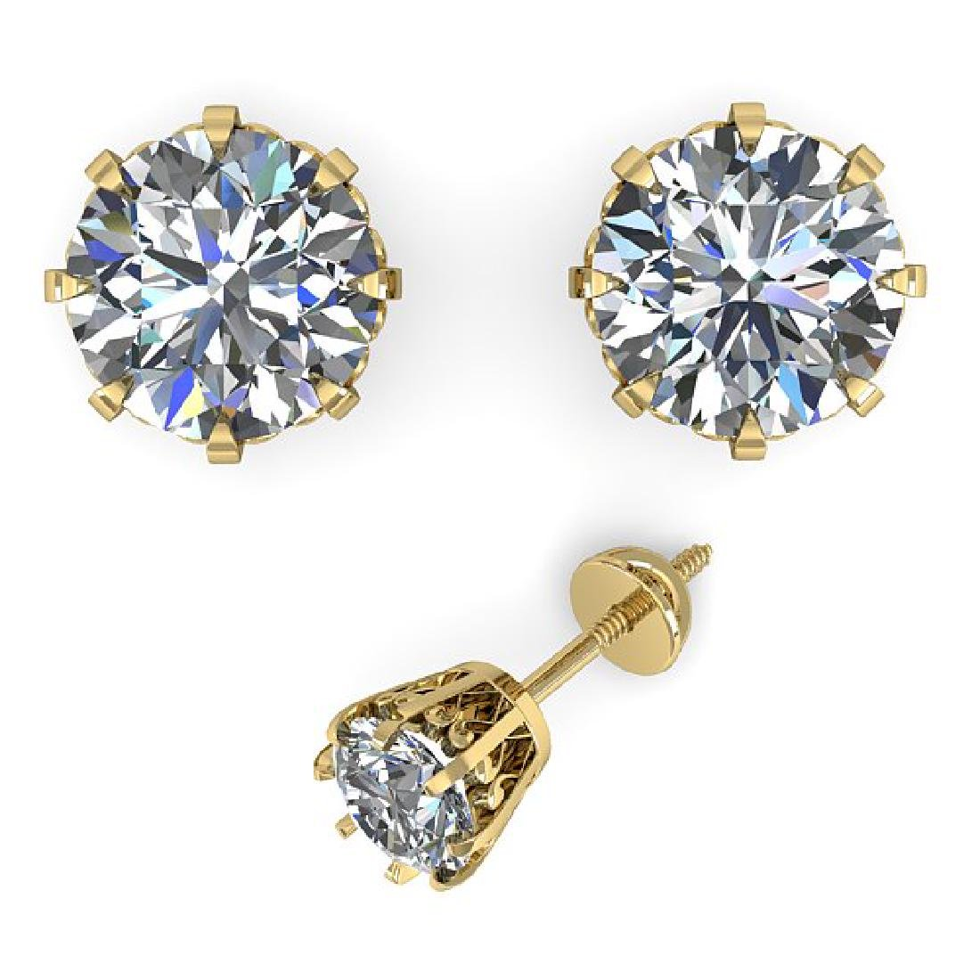 1.03 CTW VS/SI Diamond Stud Solitaire Earrings 14K - 2