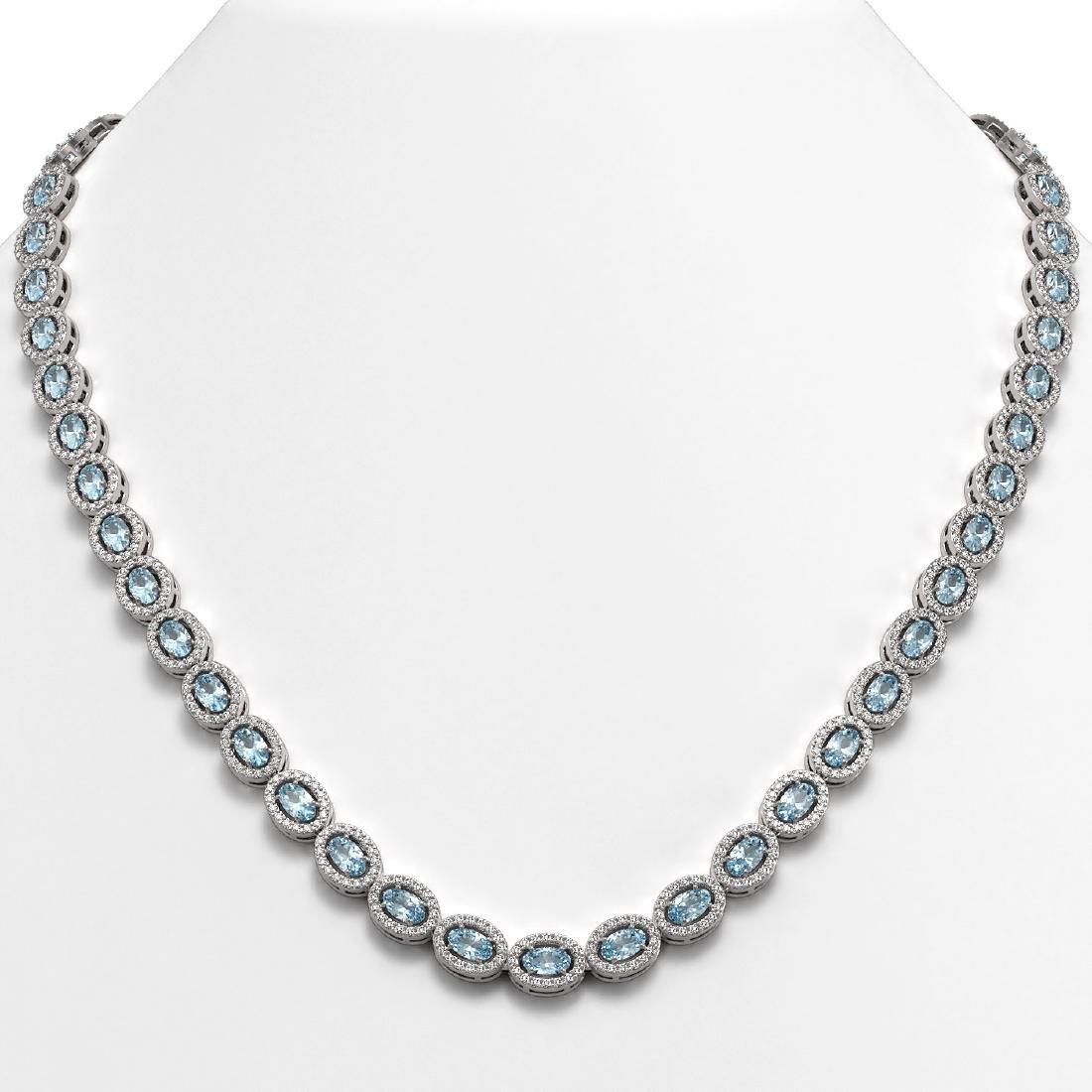 20.71 CTW Aquamarine & Diamond Halo Necklace 10K White