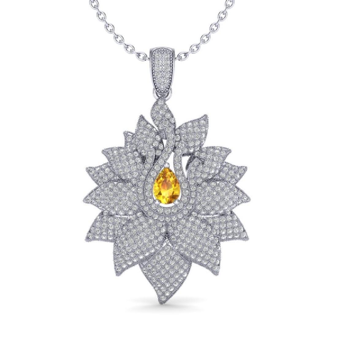 3 CTW Yellow Sapphire & Micro Pave VS/SI Diamond - 2