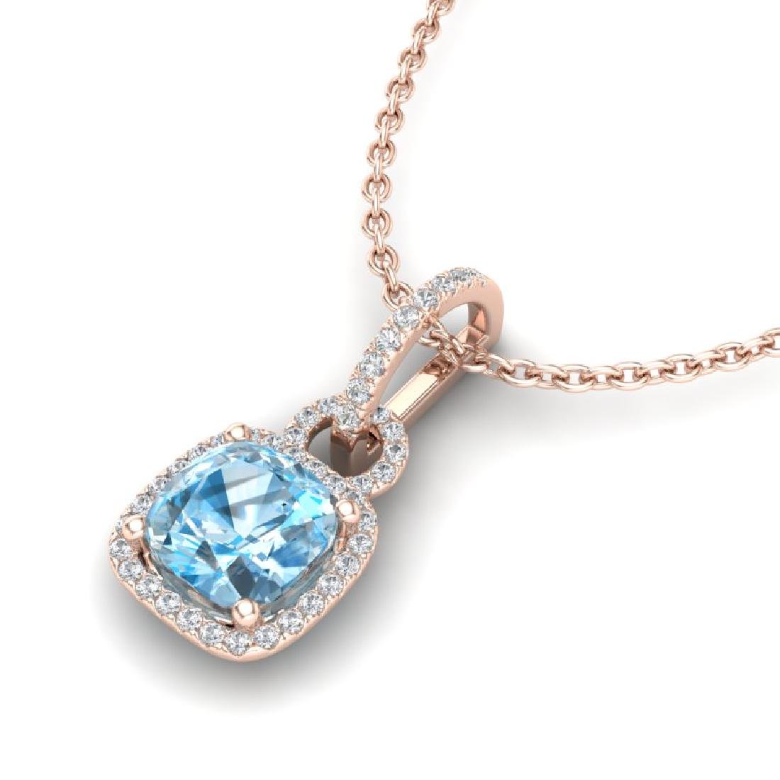 3.50 CTW Topaz & Micro VS/SI Diamond Necklace 14K Rose
