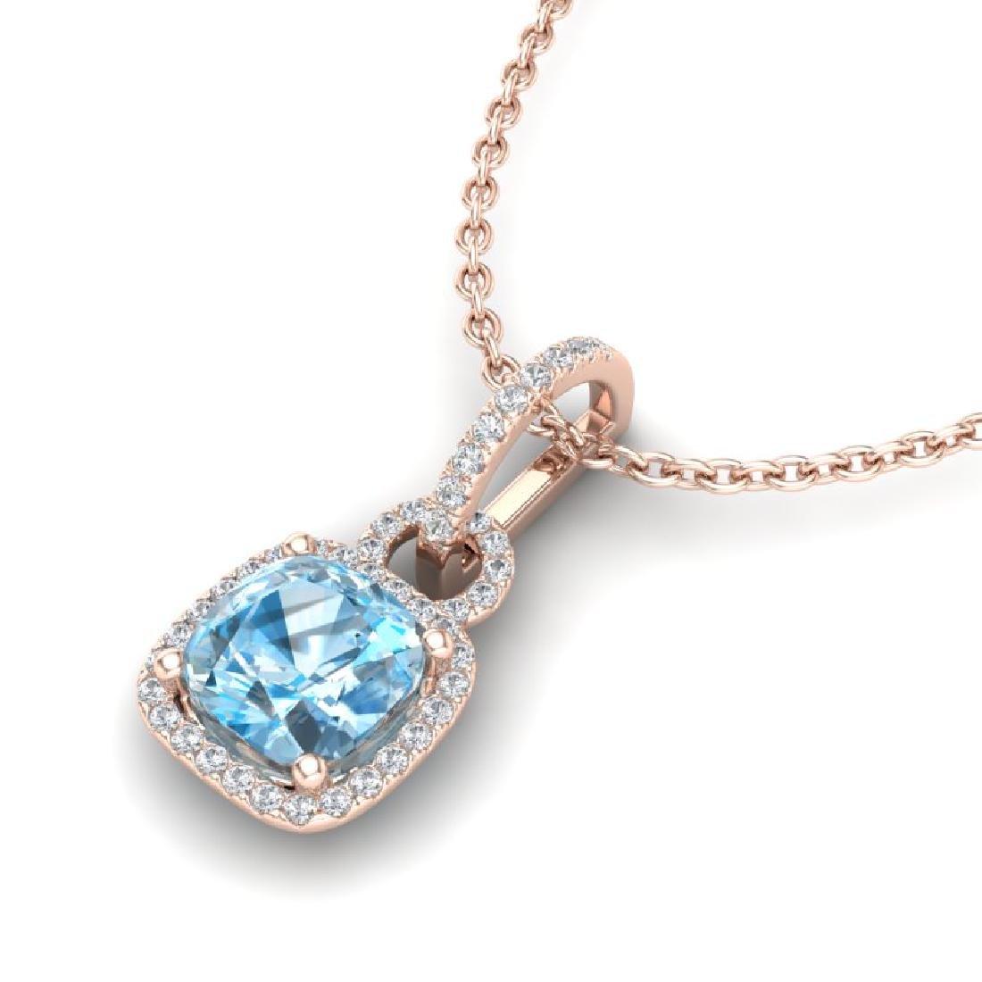 3.50 CTW Topaz & Micro VS/SI Diamond Necklace 14K Rose
