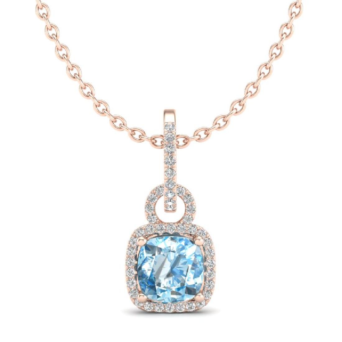 3.50 CTW Topaz & Micro VS/SI Diamond Necklace 14K Rose - 2