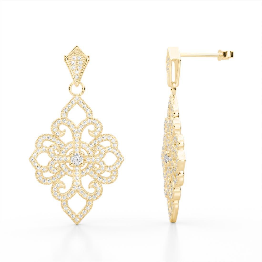2.50 CTW Micro Pave VS/SI Diamond Designer Earrings 14K - 3
