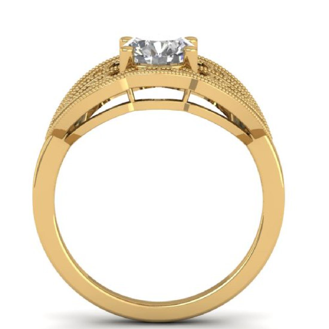 1.5 CTW Certified VS/SI Diamond Art Deco Micro Ring 18K - 3