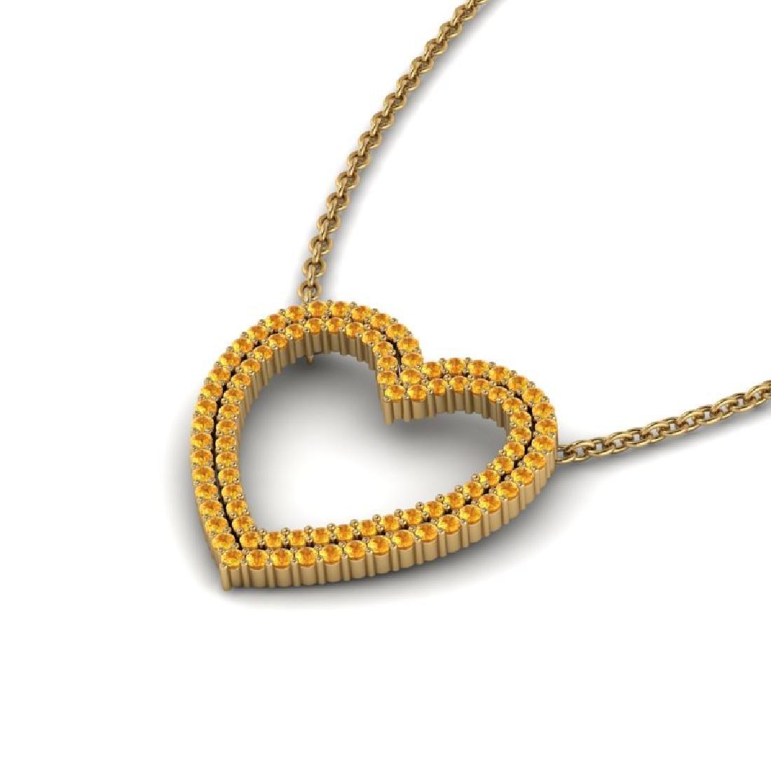 3.50 CTW Yellow Sapphire Heart Halo Designer Necklace - 2