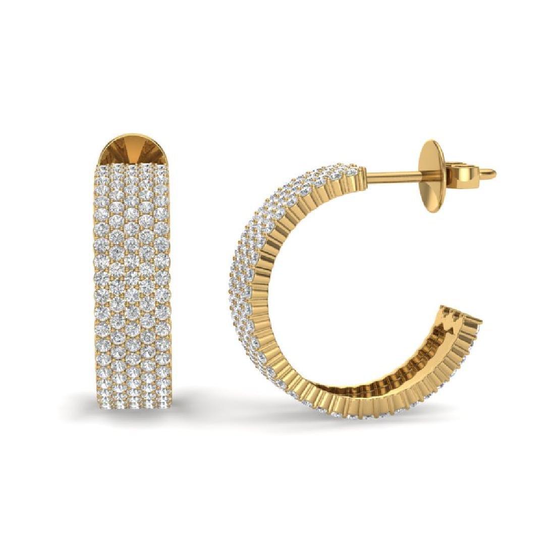 4.50 CTW Micro Pave VS/SI Diamond Earrings 14K Yellow - 2