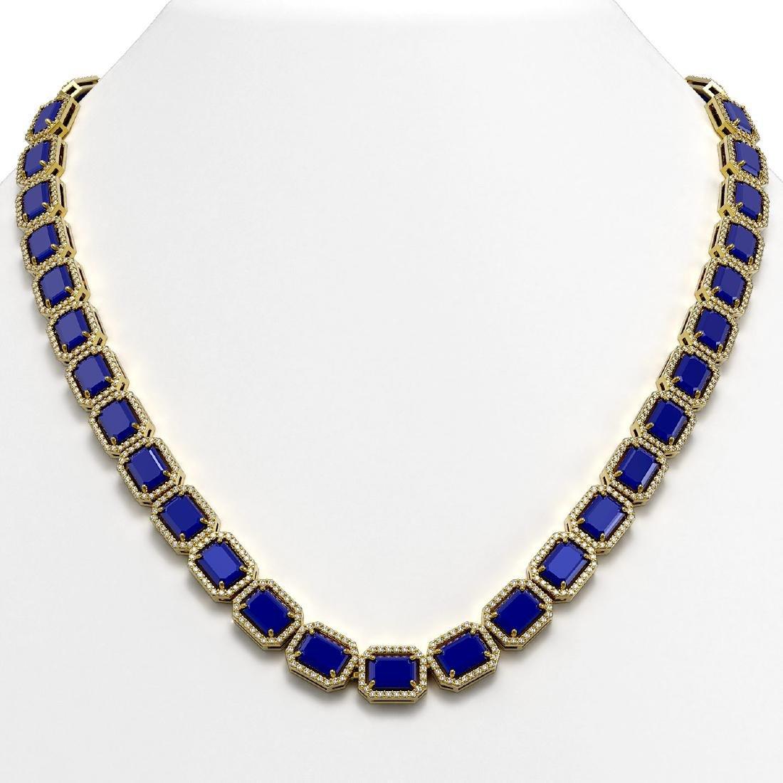 58.59 CTW Sapphire & Diamond Halo Necklace 10K Yellow