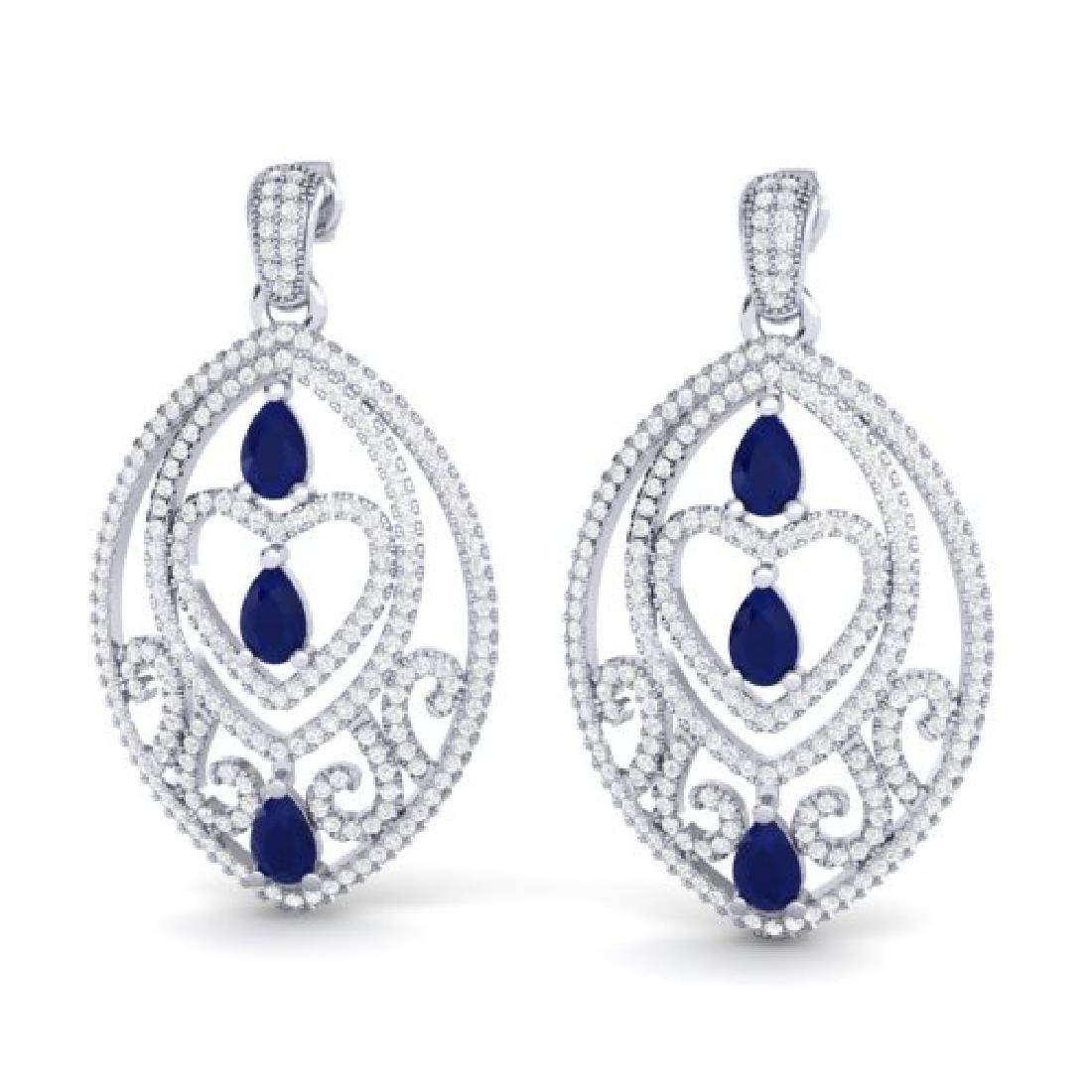 7 CTW Sapphire & Micro Pave VS/SI Diamond Heart