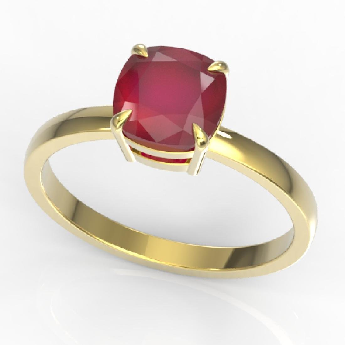 2 CTW Cushion Cut Ruby Designer Solitaire Engagement - 2