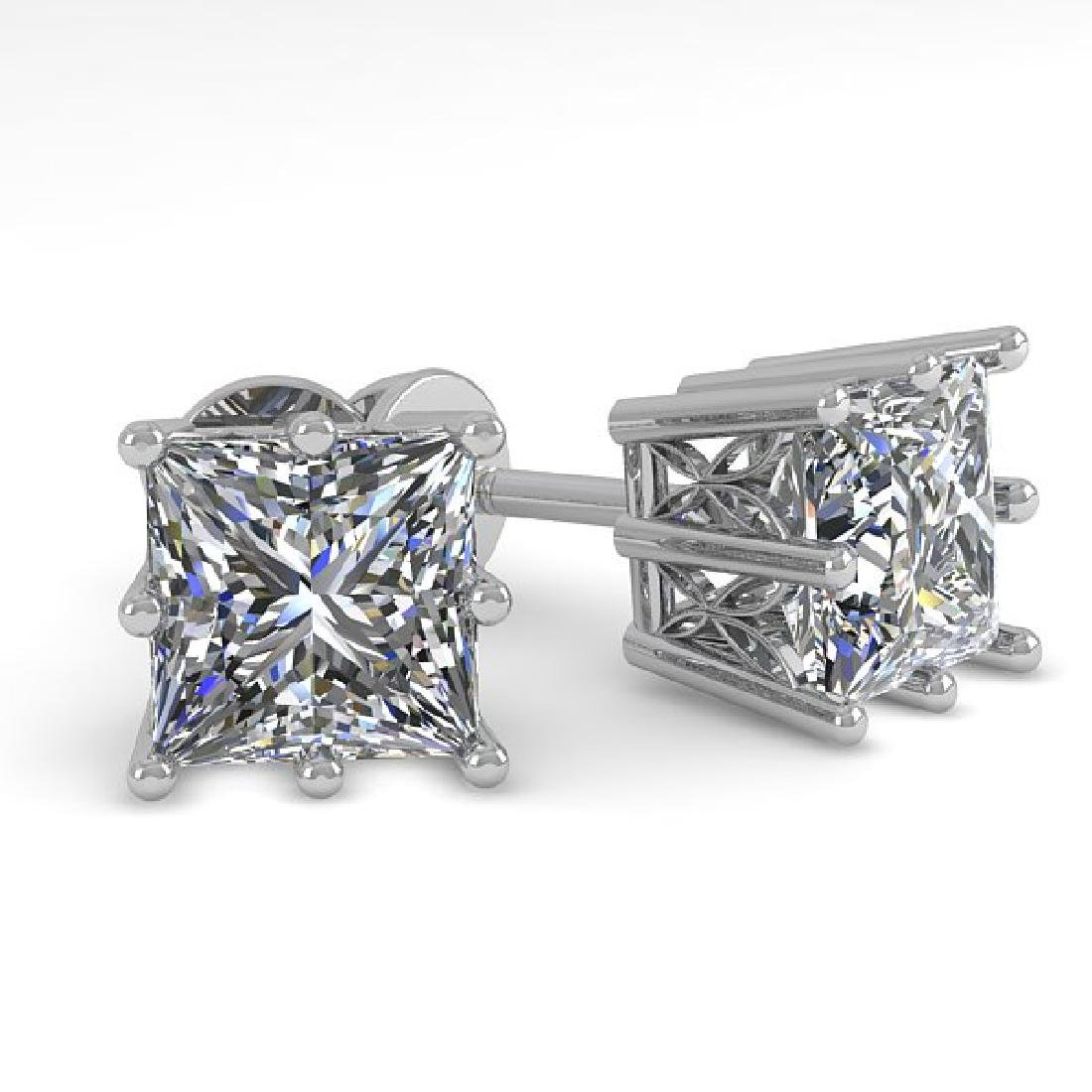 1.0 CTW VS/SI Princess Diamond Stud Art Deco Earrings