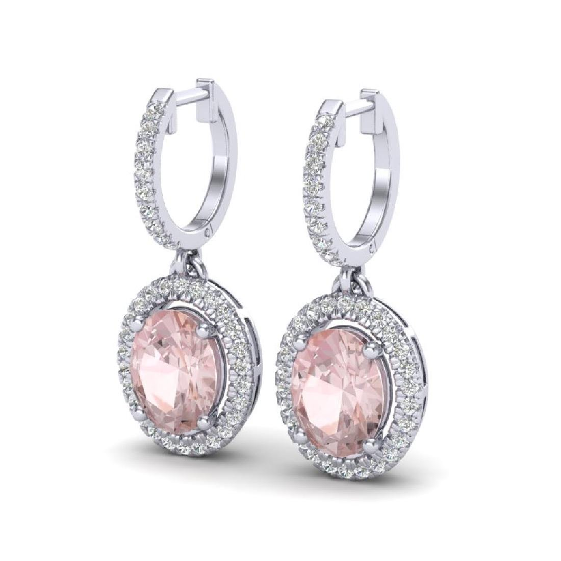 3.25 CTW Morganite & Micro Pave VS/SI Diamond Earrings