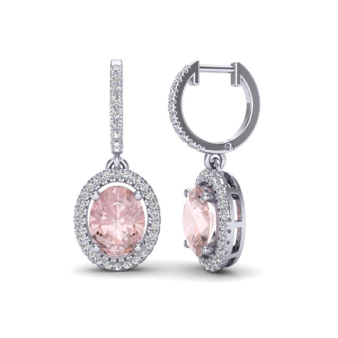 3.25 CTW Morganite & Micro Pave VS/SI Diamond Earrings - 2