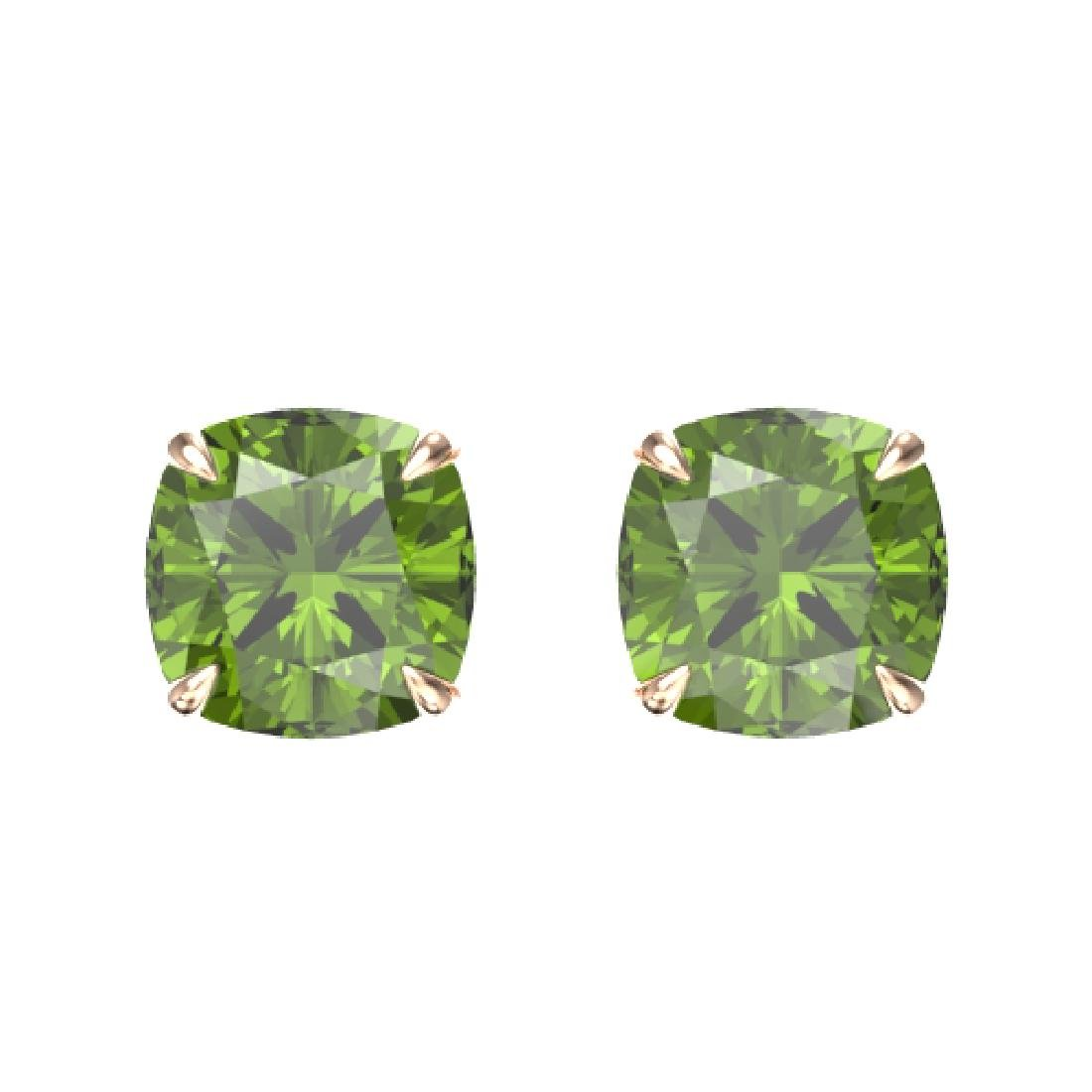 4 CTW Cushion Cut Green Tourmaline Designer Stud