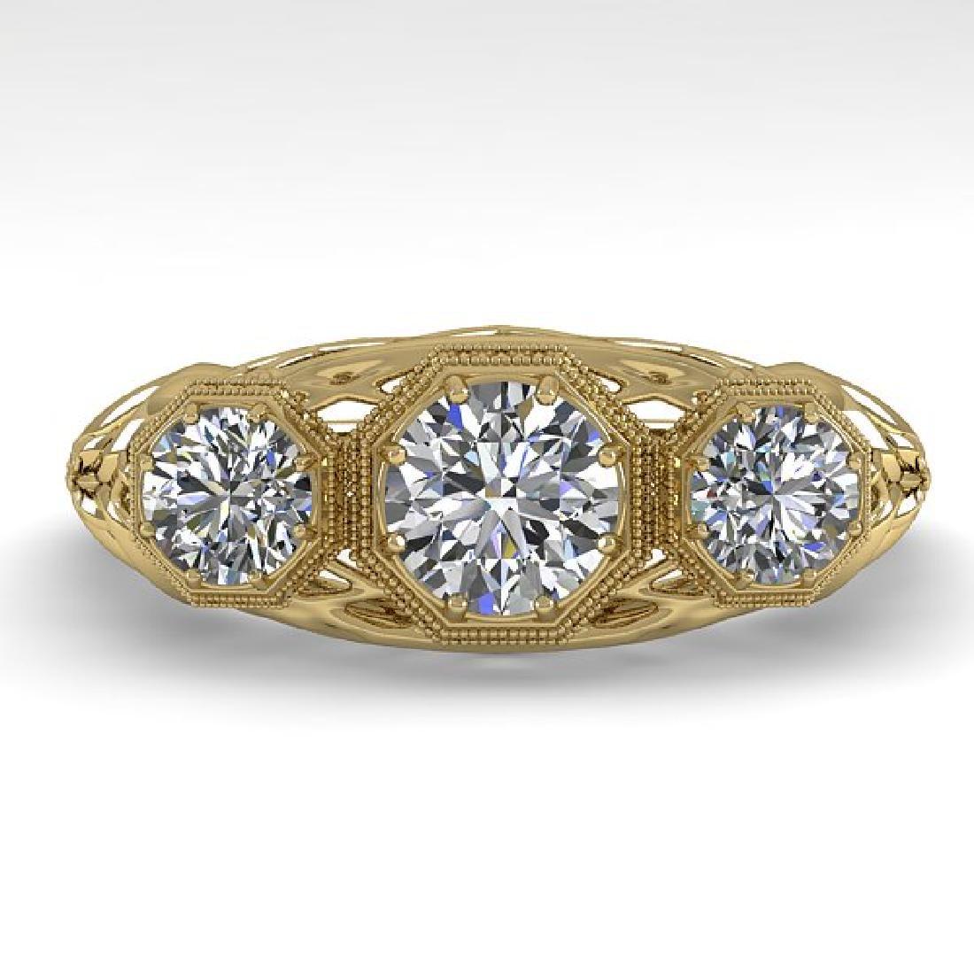 1.00 CTW VS/SI Diamond Art Deco Ring 14K Yellow Gold