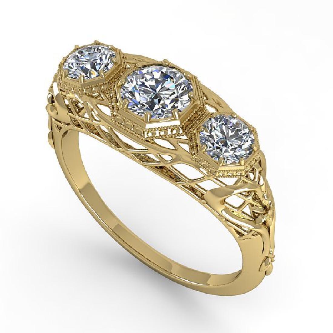 1.00 CTW VS/SI Diamond Art Deco Ring 14K Yellow Gold - 2