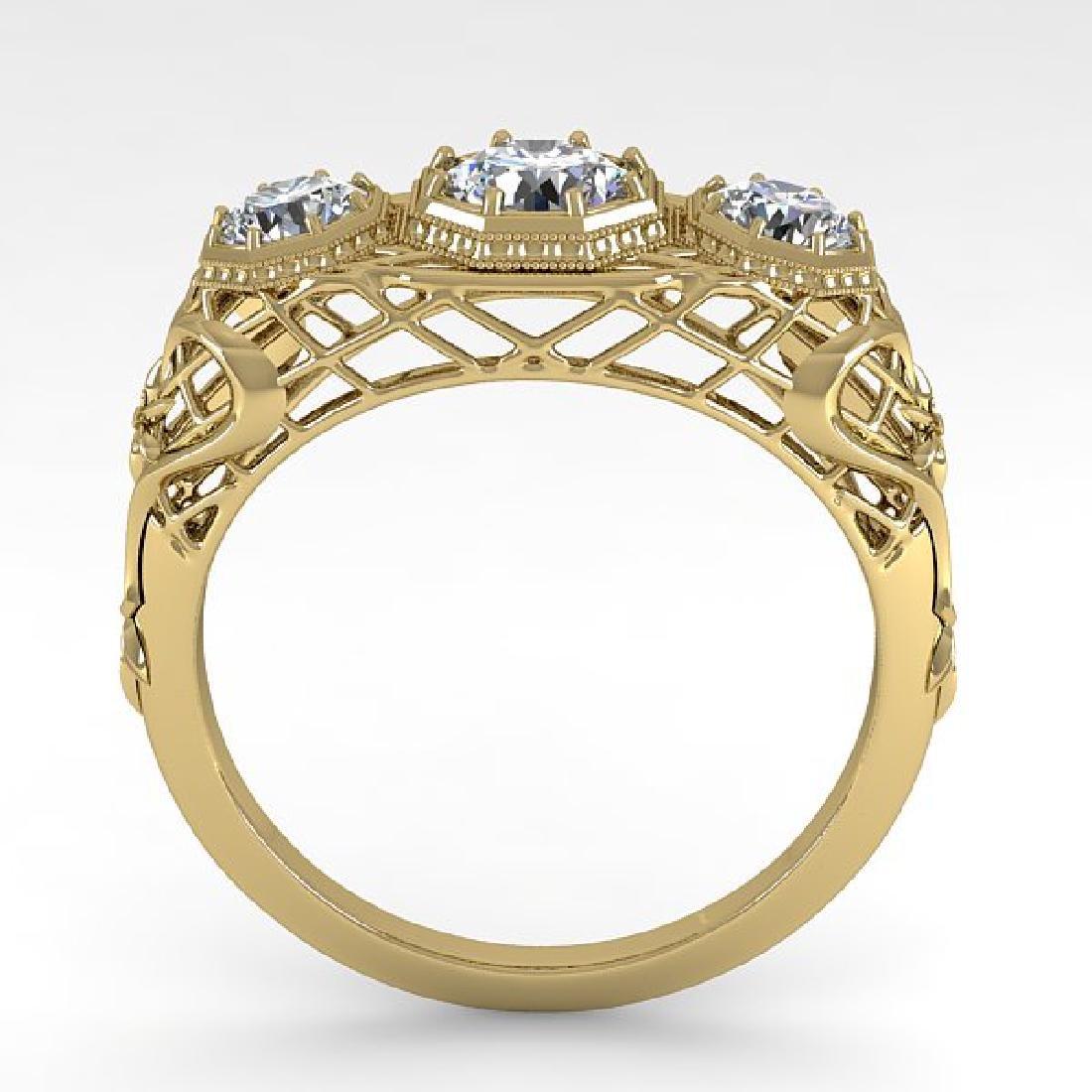 1.00 CTW VS/SI Diamond Art Deco Ring 14K Yellow Gold - 3