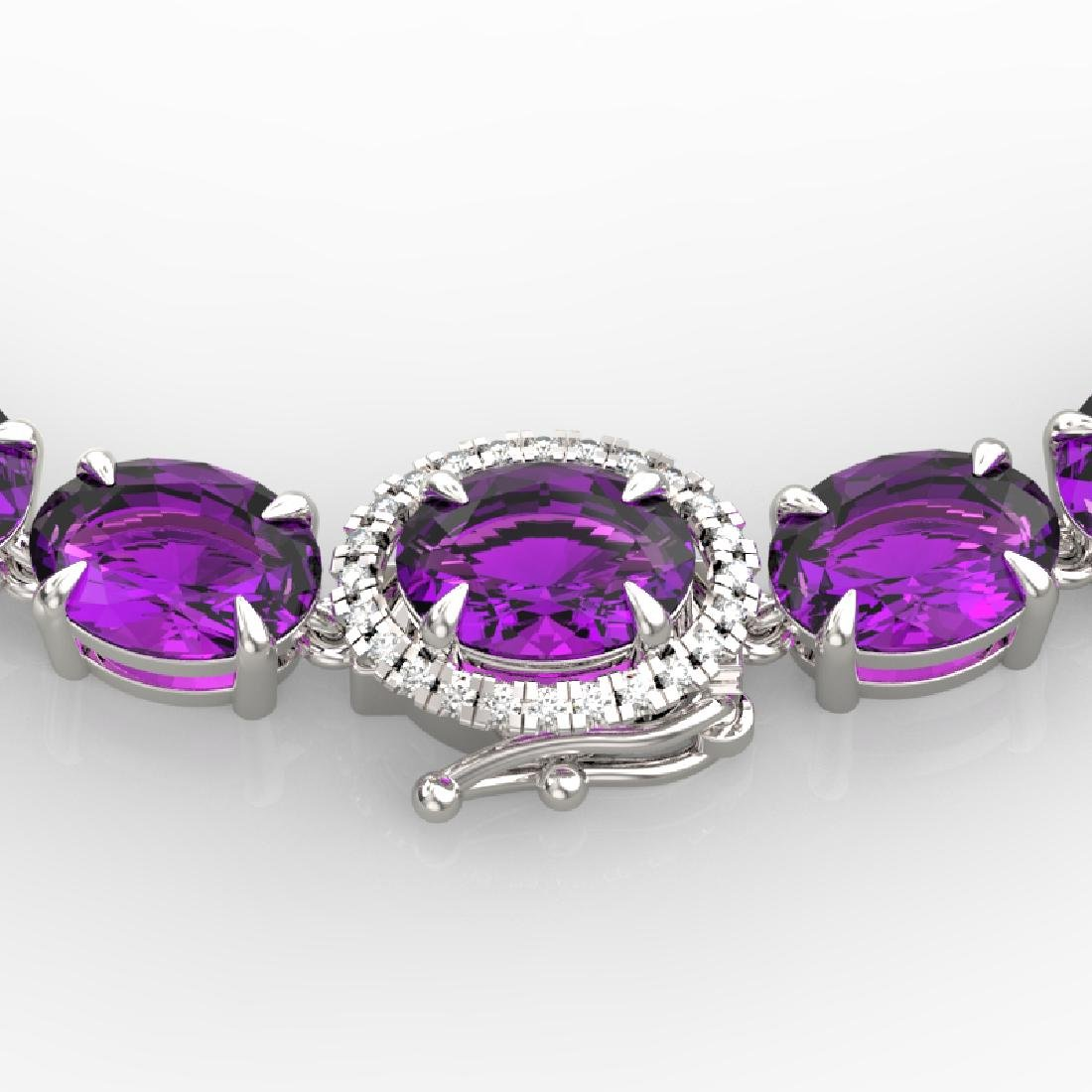 45.25 CTW Amethyst & VS/SI Diamond Tennis Micro Pave