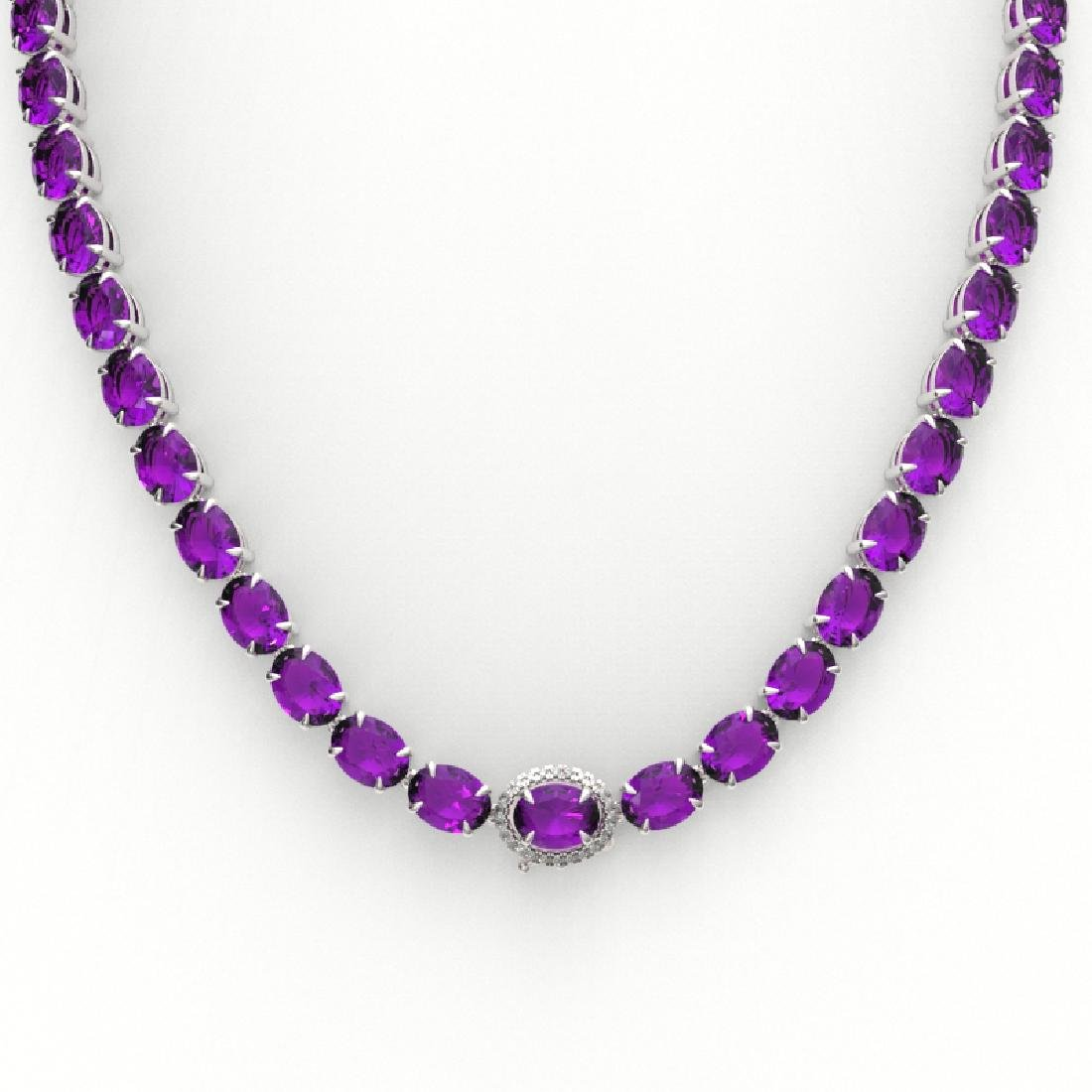 45.25 CTW Amethyst & VS/SI Diamond Tennis Micro Pave - 2
