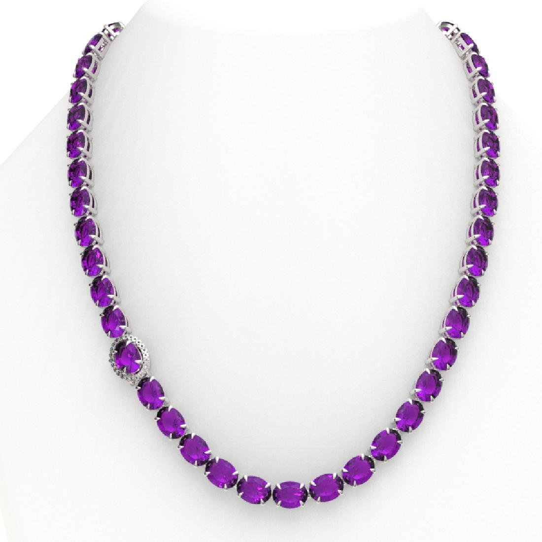 45.25 CTW Amethyst & VS/SI Diamond Tennis Micro Pave - 3