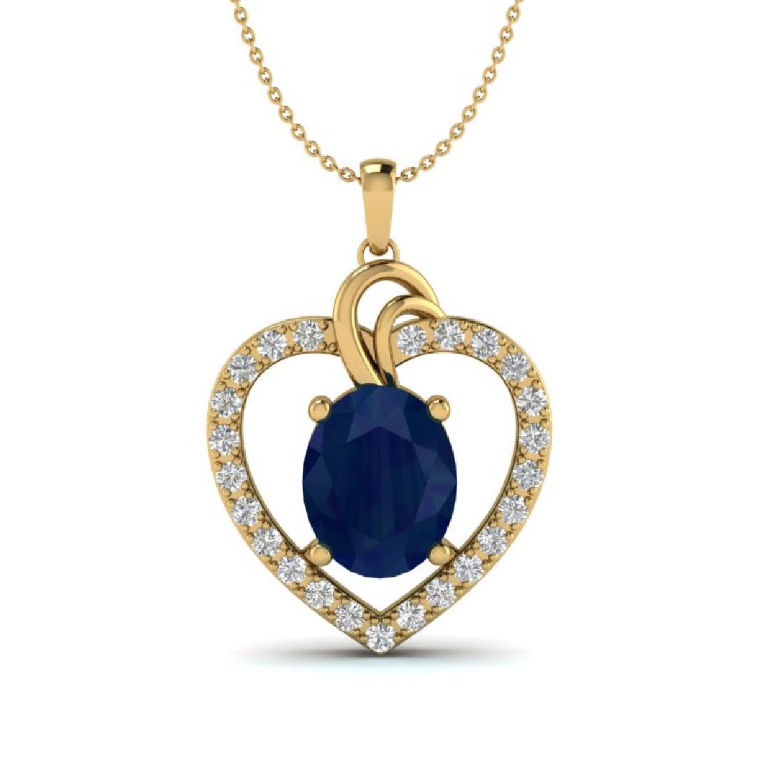 4 CTW Sapphire & VS/SI Diamond Designer Inspired Heart