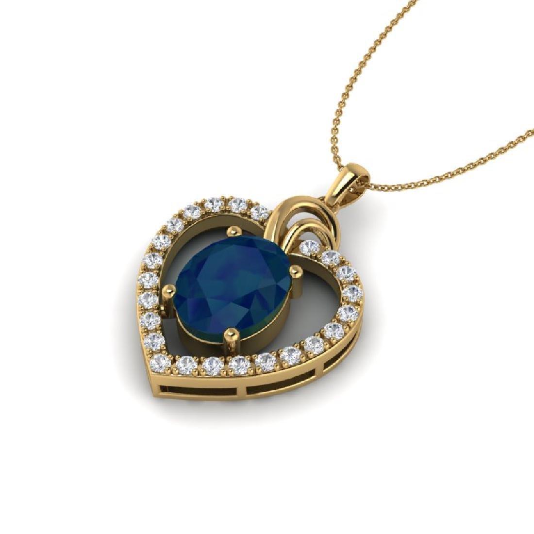 4 CTW Sapphire & VS/SI Diamond Designer Inspired Heart - 2
